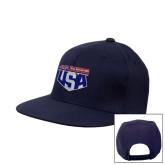 Navy Flat Bill Snapback Hat-AMA US Trial Des Nations Team