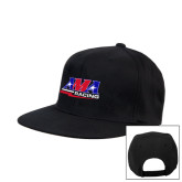 Black Flat Bill Snapback Hat-AMA Racing