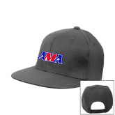 Heather Grey Wool Blend Flat Bill Snapback Hat-AMA Racing