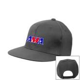 Heather Grey Wool Blend Flat Bill Snapback Hat-AMA Racing