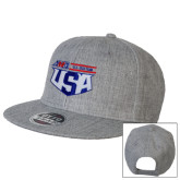 Heather Grey Wool Blend Flat Bill Snapback Hat-AMA US ISDE Team