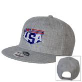 Heather Grey Wool Blend Flat Bill Snapback Hat-AMA US Trial Des Nations Team