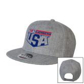 Heather Grey Wool Blend Flat Bill Snapback Hat-US Motorcross Team