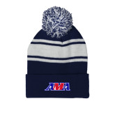 Navy/White Two Tone Knit Pom Beanie with Cuff-AMA