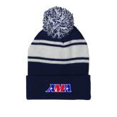 Navy/White Two Tone Knit Pom Beanie w/Cuff-AMA