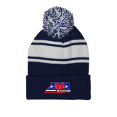 Navy/White Two Tone Knit Pom Beanie with Cuff-AMA Racing