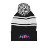 Black/White Two Tone Knit Pom Beanie with Cuff-AMA