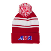 Red/White Two Tone Knit Pom Beanie with Cuff-AMA