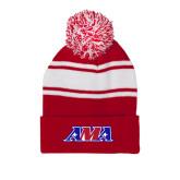 Red/White Two Tone Knit Pom Beanie w/Cuff-AMA