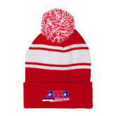 Red/White Two Tone Knit Pom Beanie with Cuff-AMA Racing
