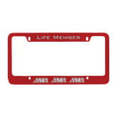 Metal Red License Plate Frame-AMA Engraved
