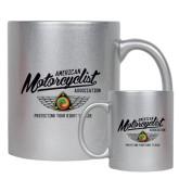 11oz Silver Metallic Ceramic Mug-Protecting Your Right To Ride