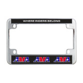 Metal Motorcycle License Plate Frame in Chrome-Where Riders Belong