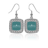 Crystal Studded Square Pendant Silver Dangle Earrings-Official Mark