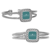 Crystal Studded Cable Cuff Bracelet With Square Pendant-Official Mark