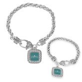 Silver Braided Rope Bracelet With Crystal Studded Square Pendant-Official Mark