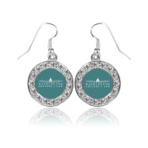 Crystal Studded Round Pendant Silver Dangle Earrings-Official Mark