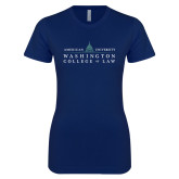 Next Level Ladies SoftStyle Junior Fitted Navy Tee-Official Mark