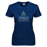Ladies Navy T Shirt-Official Mark Stacked
