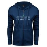 ENZA Ladies Navy Fleece Full Zip Hoodie-Official Mark