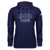Adidas Climawarm Navy Team Issue Hoodie-Official Mark w Tagline Stacked