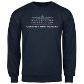 Navy Fleece Crew-Official Mark w Tagline Flat