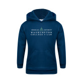 Youth Navy Fleece Hoodie-Official Mark