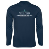 Performance Navy Longsleeve Shirt-Official Mark w Tagline Flat