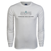 White Long Sleeve T Shirt-Official Mark w Tagline Flat