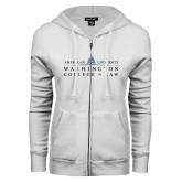 ENZA Ladies White Fleece Full Zip Hoodie-Official Mark