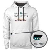 Contemporary Sofspun White Hoodie-Official Mark w Tagline Stacked