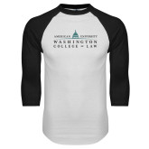 White/Black Raglan Baseball T Shirt-Official Mark