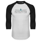 White/Black Raglan Baseball T Shirt-Official Mark