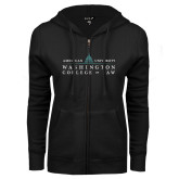 ENZA Ladies Black Fleece Full Zip Hoodie-Official Mark