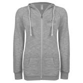 ENZA Ladies Grey/Black Marled Full Zip Hoodie-Official Mark