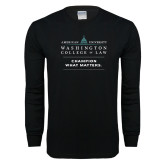 Black Long Sleeve T Shirt-Official Mark w Tagline Stacked