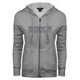 ENZA Ladies Grey Fleece Full Zip Hoodie-Washington College of Law Glitter