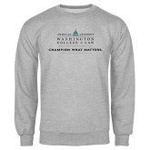 Grey Fleece Crew-Official Mark w Tagline Flat