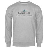 Grey Fleece Crew-Official Mark w Tagline Flat