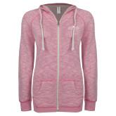 ENZA Ladies Hot Pink Marled Full Zip Hoodie-Official Mark