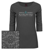 Ladies Charcoal Heather Tri Blend Lace 3/4 Sleeve Tee-Official Mark