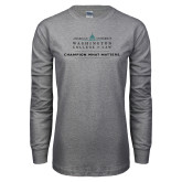 Grey Long Sleeve T Shirt-Official Mark w Tagline Flat