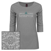 Ladies Grey Heather Tri Blend Lace 3/4 Sleeve Tee-Official Mark