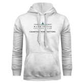 White Fleece Hoodie-Official Mark w Tagline Flat