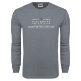 Charcoal Long Sleeve T Shirt-Official Mark w Tagline Flat