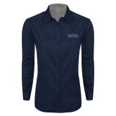 Ladies Navy Twill Button Down Long Sleeve-Official Mark