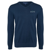 Classic Mens V Neck Navy Sweater-Official Mark