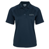 Ladies Navy Textured Saddle Shoulder Polo-Official Mark