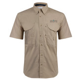 Khaki Short Sleeve Performance Fishing Shirt-Official Mark