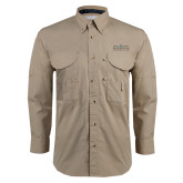 Khaki Long Sleeve Performance Fishing Shirt-Official Mark